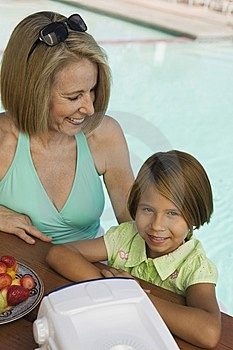 Girl With Grandmother At Pool Stock Image - Image: 13583971