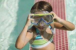 Girl (7-9) Adjusting Goggles Stock Photos - Image: 13583973