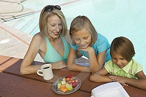 Girls And Grandmother Watching Tv Stock Images - Image: 13583974
