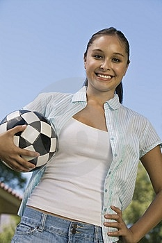 Young Woman Holding Soccer Ball Stock Images - Image: 13584074