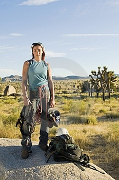 Climber Standing On Boulder With Gear, (portrait) Stock Image - Image: 13585261