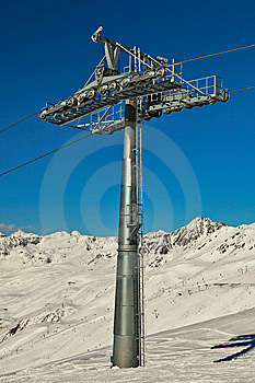 Ski Lift Pole With Support Rolls. Royalty Free Stock Image - Image: 13586236