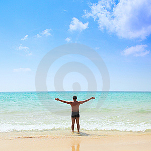 Man Stands In The Sea Royalty Free Stock Photo - Image: 13588815