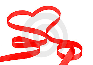 Red Ribbon In Heart Shape Royalty Free Stock Image - Image: 13592196