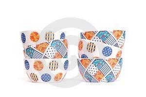 Two Zigzag Stacks Of Porcelain Bowls Isolated Stock Photo - Image: 13593000