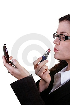 Business Woman Applying Red Lipstick Stock Photos - Image: 13593113