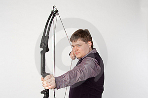 Man Shoots Compound Bow Royalty Free Stock Photo - Image: 13596525