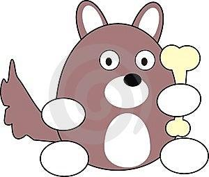 Cartoon Dog With A Bone Royalty Free Stock Photos - Image: 13598108