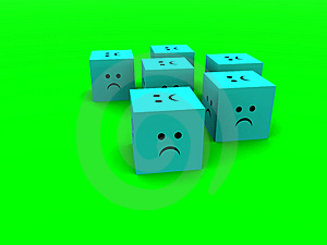 Sad Cubes  6 Stock Image - Image: 1365321