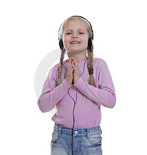 The Smile Little Girl In Headphones Stock Photography - Image: 13602742