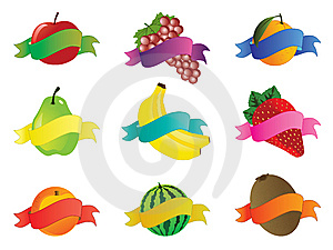 Collection Of Fruit Icons Stock Photography - Image: 13606372