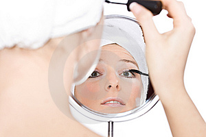 Woman Reflection In Mirror Stock Image - Image: 13606581