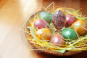 Easter Painted Eggs In Traditional Basket Royalty Free Stock Image - Image: 13607646