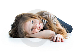 Beautiful Little Girl Lie Stock Images - Image: 13612024