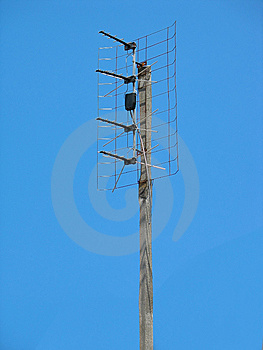 Old TV Antenna Over Blue Sky Stock Photos - Image: 13612583