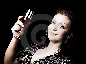 Elegant Woman Holding Wine Over Dark Royalty Free Stock Image - Image: 13612676