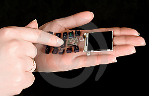 Mobil Telephone In Women  Hands Stock Photo - Image: 13614580