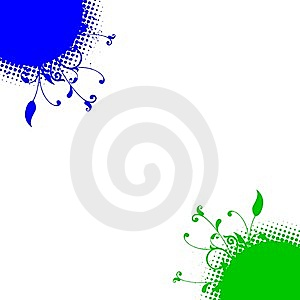 Blue Green Floral Dots Corners Background Royalty Free Stock Image - Image: 13615206
