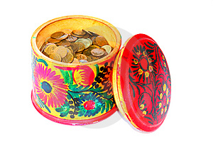 Coins In A Box Stock Images - Image: 13616144