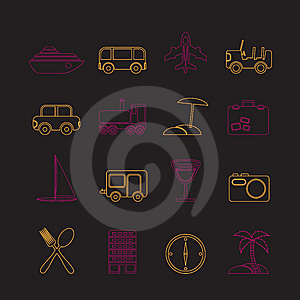 Travel, Transportation, Tourism And Holiday Icons Stock Images - Image: 13619004