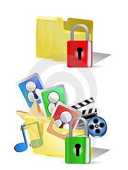 Lock And Unlock Folder  Internet Icons Stock Photo - Image: 13620180