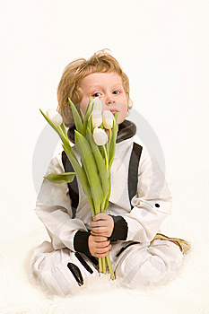 Astronaut Boy Holding A Bouquet Royalty Free Stock Image - Image: 13625746