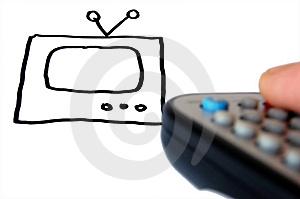 TV Drawing And Remote Control In Hand . Stock Images - Image: 13628174
