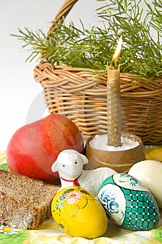 Easter Eggs A Candle And A Lamb Stock Image - Image: 13628481