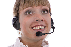 Woman With Headset Stock Images - Image: 13630874