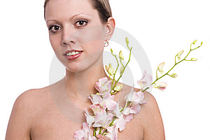 Pretty Young Woman Portrait With Orchid Stock Photography - Image: 13630942
