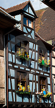 Blue Timber Frame House In Alsace Royalty Free Stock Photo - Image: 13635955