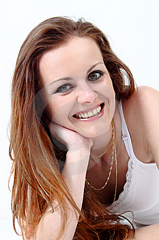 Lying And Smiling Attractive Woman Stock Photo - Image: 13639010