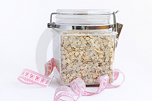 Oatmeal In Glass With Tape Measure Stock Photo - Image: 13641490