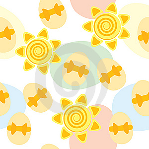 Seamless Easter Pattern With Suns And Eggs Stock Photos - Image: 13642483