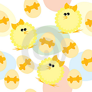 Easter Seamless Pattern With Chickens And Eggs Royalty Free Stock Image - Image: 13642486