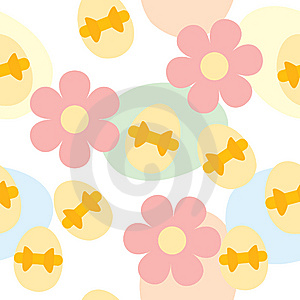 Seamless Easter Pattern With Eggs And Flowers Royalty Free Stock Photography - Image: 13642497