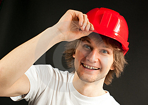 Smiling Young Man In A Hard Hat Royalty Free Stock Photos - Image: 13642788
