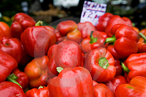 Red Peppers At The Farmer's  Market Stock Photo - Image: 13643480