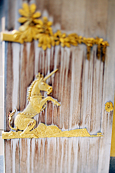Unicorn Gold Sculpture Royalty Free Stock Photo - Image: 13643925
