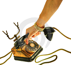 Female Hand  Dialling An Old Style Telephone Royalty Free Stock Image - Image: 13644026
