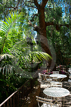 Exotic Garden, Caffee Tables In France Royalty Free Stock Photos - Image: 13644878