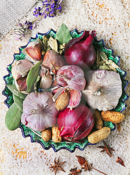 Garlic, Onion And Spices On The Plat Stock Photo - Image: 13645450