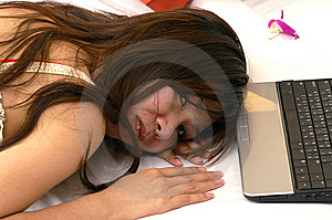 Woman Using Laptop Tired Stock Image - Image: 13645711