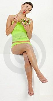 Woman Eating Salad Royalty Free Stock Image - Image: 13647616
