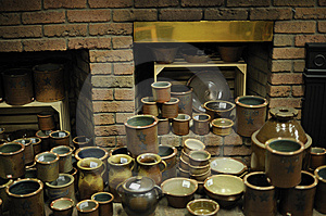 Glazed Pottery And Kiln Stock Image - Image: 13648881