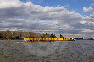 Container Barge On The Thames Royalty Free Stock Image - Image: 13649666