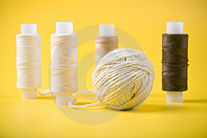 Ball Of Yarn And Spools Of Thread Stock Image - Image: 13651001