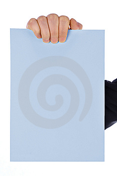 Hand With Blank Card Stock Images - Image: 13651604