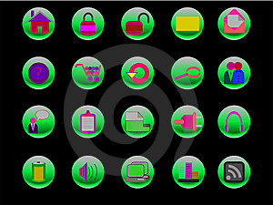 Colorful Web And Internet Icons On Green Buttons Royalty Free Stock Photos - Image: 13654048