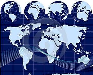 Illustration Of Globes With World Map Royalty Free Stock Photo - Image: 13654245